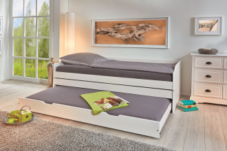 90x200 Bett Funktionsbett 3in1 Lotar Massivholz Weiß Lackiert
