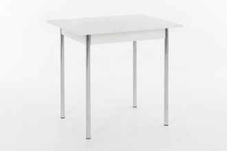 90x65 cm Esstisch Küchentisch Vierfußtisch Tisch Köln I 13/29 Chrom Dekor Weiß