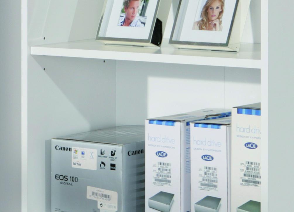 Raumteiler, Regal, Bücherregal, Bücherbord Arco4 Weiß
