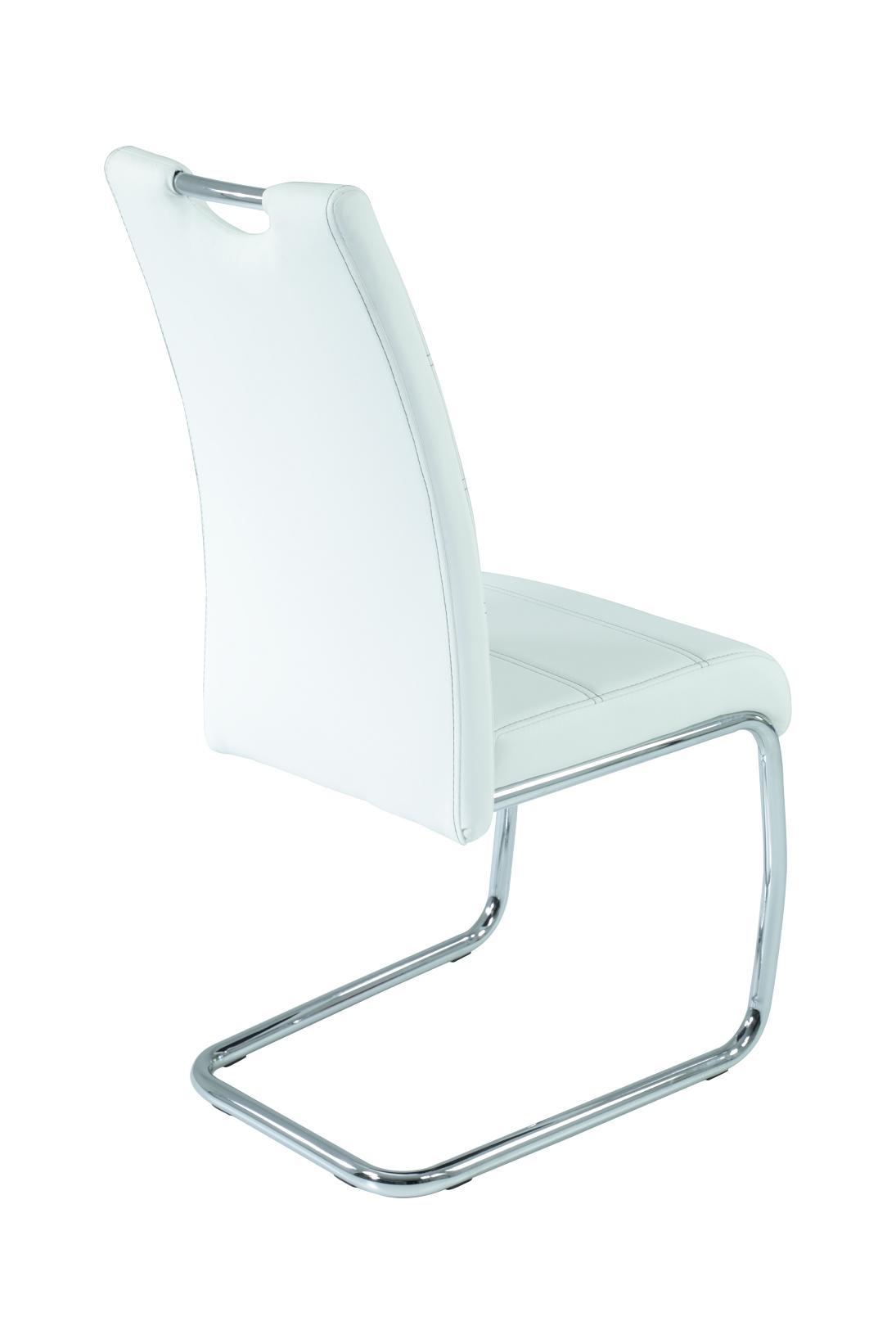 4 Freischwinger=Set Schwinger Stuhl Flora13 Kunstleder Weiß