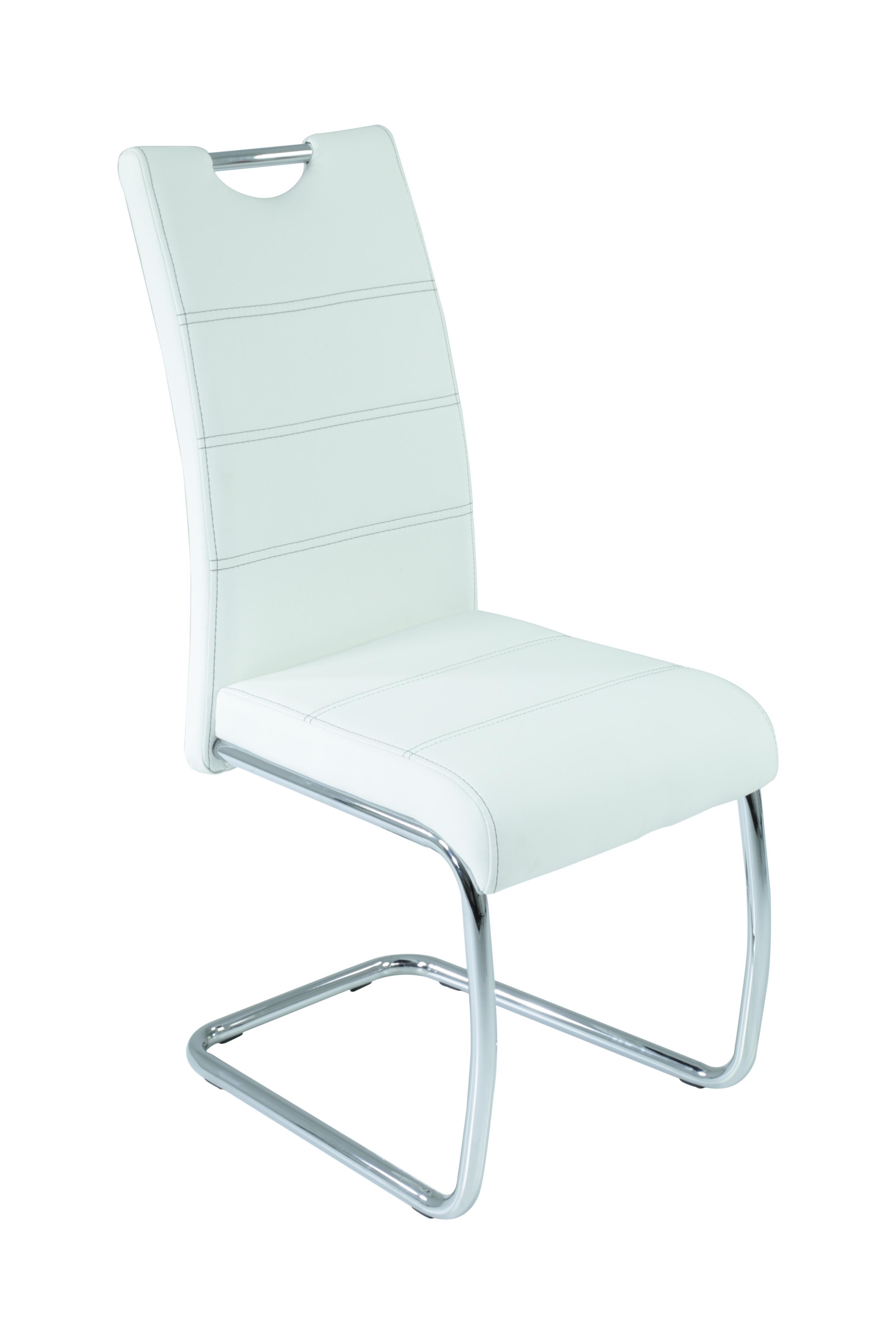 6 Freischwinger=Set Schwinger Stuhl Flora13 Kunstleder Weiß