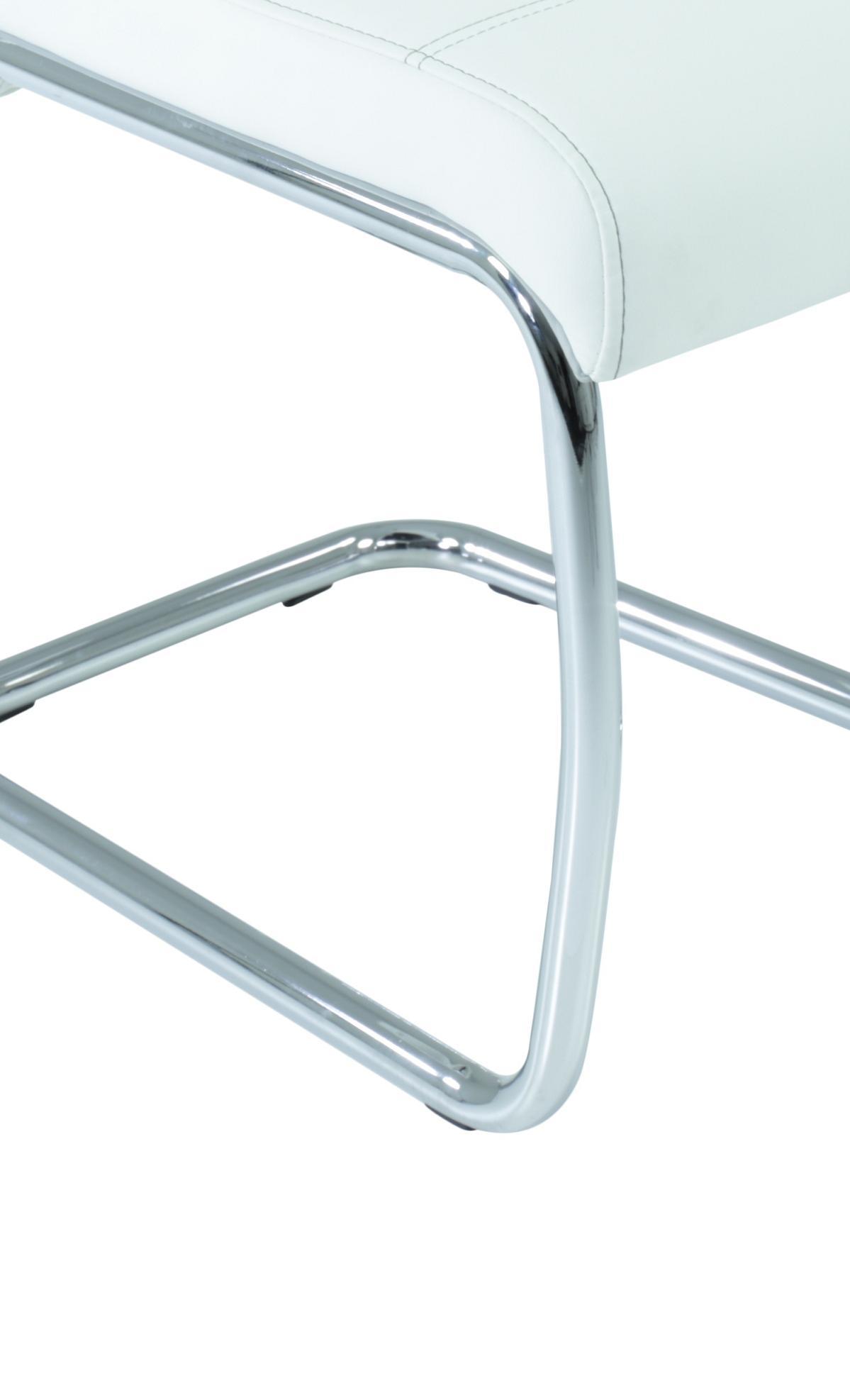 8 Freischwinger=Set Schwinger Stuhl Flora13 Kunstleder Weiß