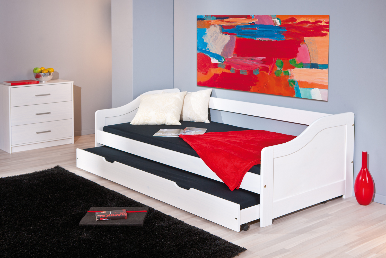90x200 Funktionsbett, Bett, Gästebett Leonie Kiefer Massiv Weiß