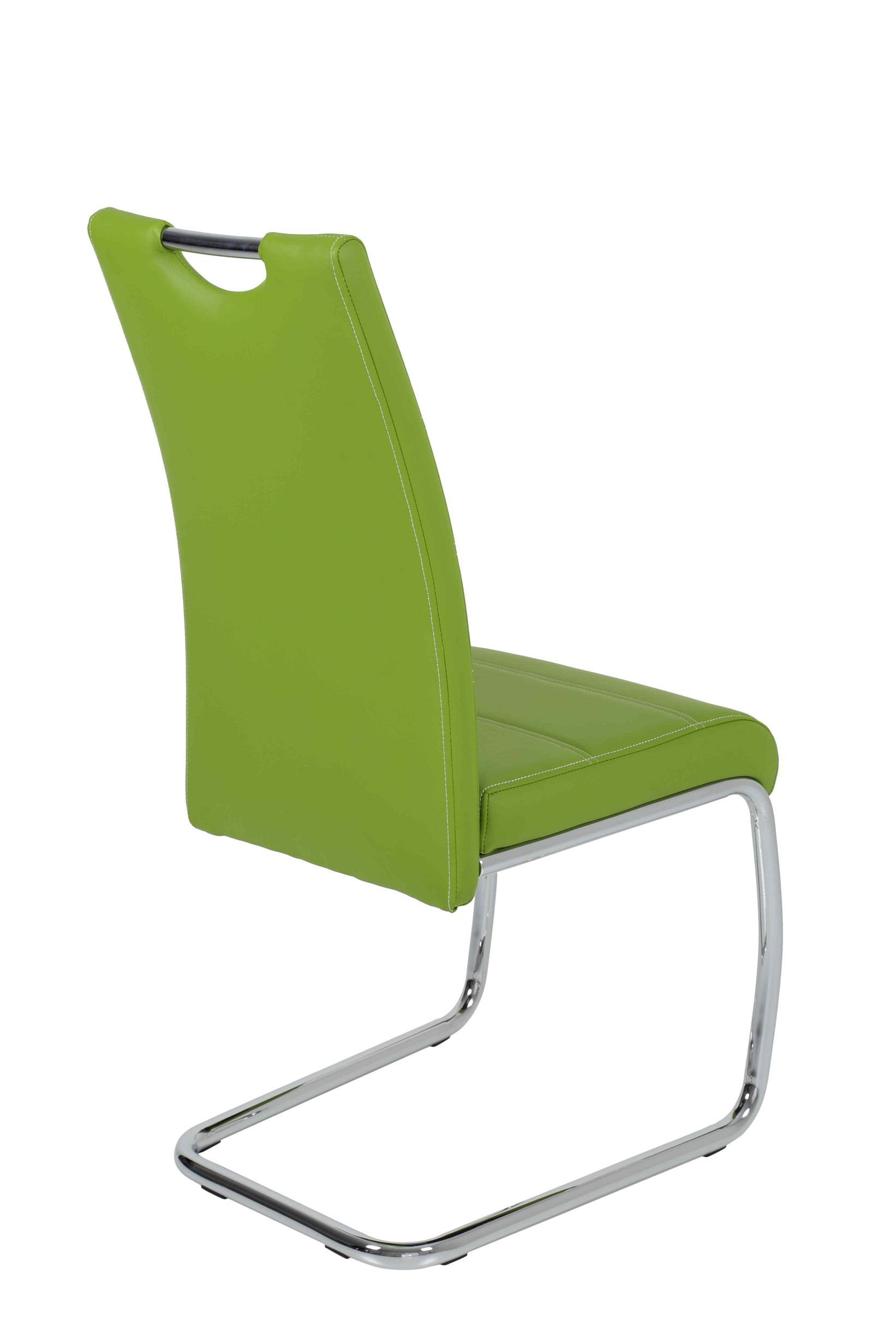 6 Freischwinger=Set Schwinger Stuhl Flora41 Kunstleder Apfelgrün