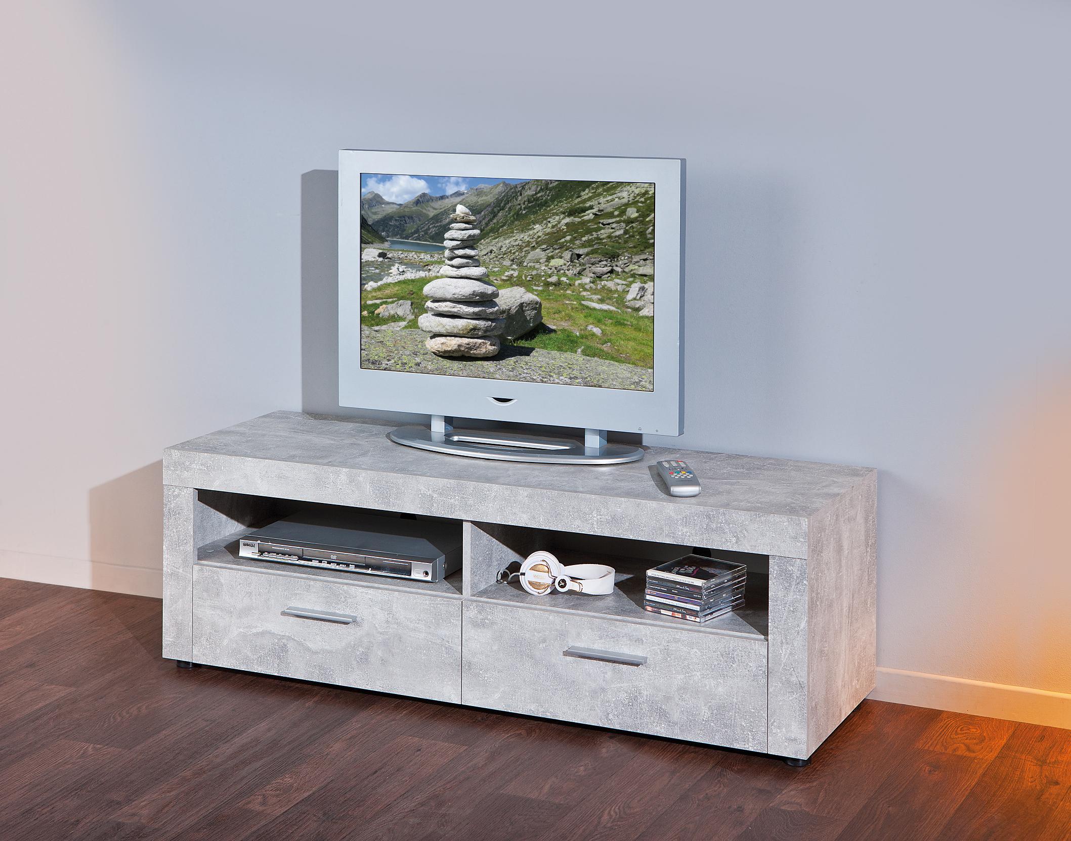 TV Rack Phono TV-Regal TV Konsole Beton6.1