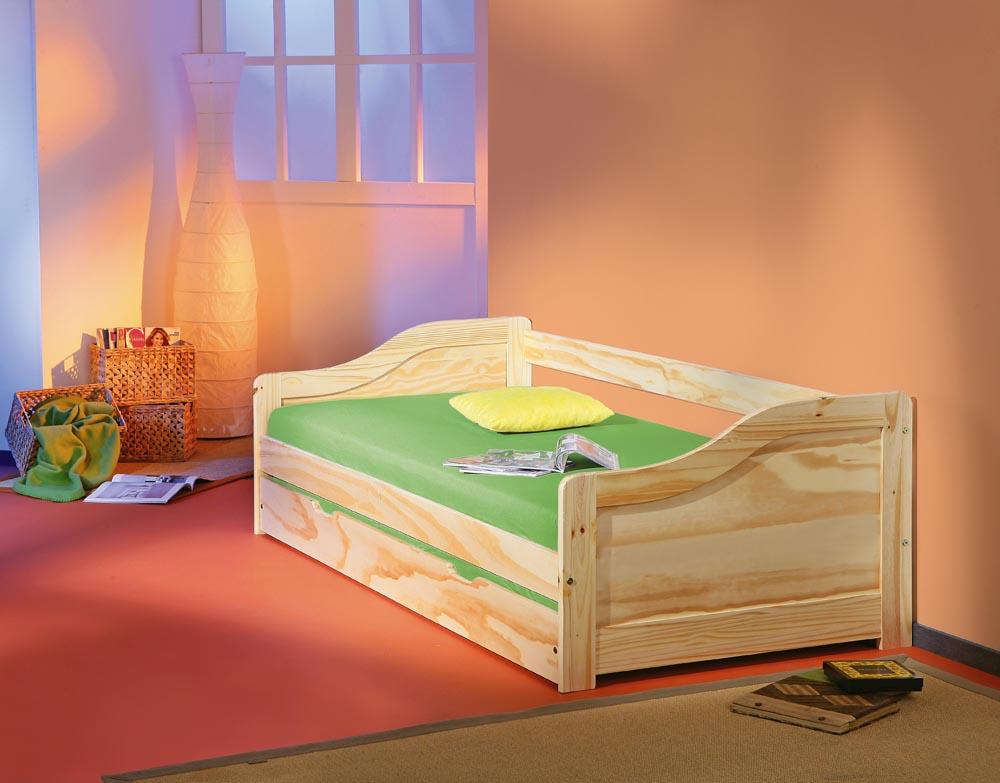 90x200 Tandembett, Kinderbett, Bett Laura Kiefer Klar lackiert