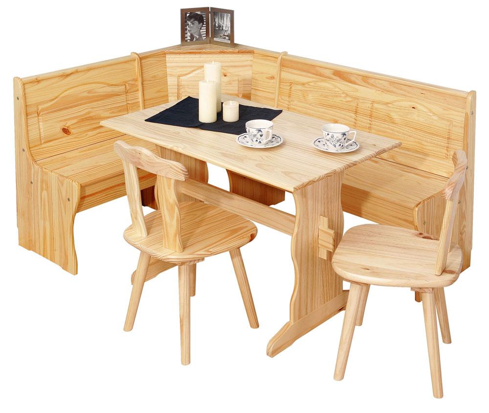 2 Stühle + Tisch + Eckbank = Set Tirol Kiefer Massiv Lackiert