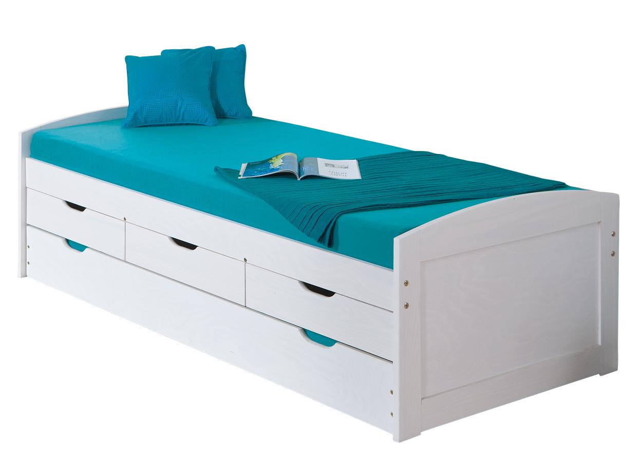 90x200 Funktionsbett Bett Spielbett Gästebett Ulli Kiefer Weiß Lackiert