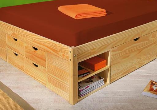 140x200 Bett, Funktionsbett, Schlafzimmer, Claas Massivholz Kiefer klar