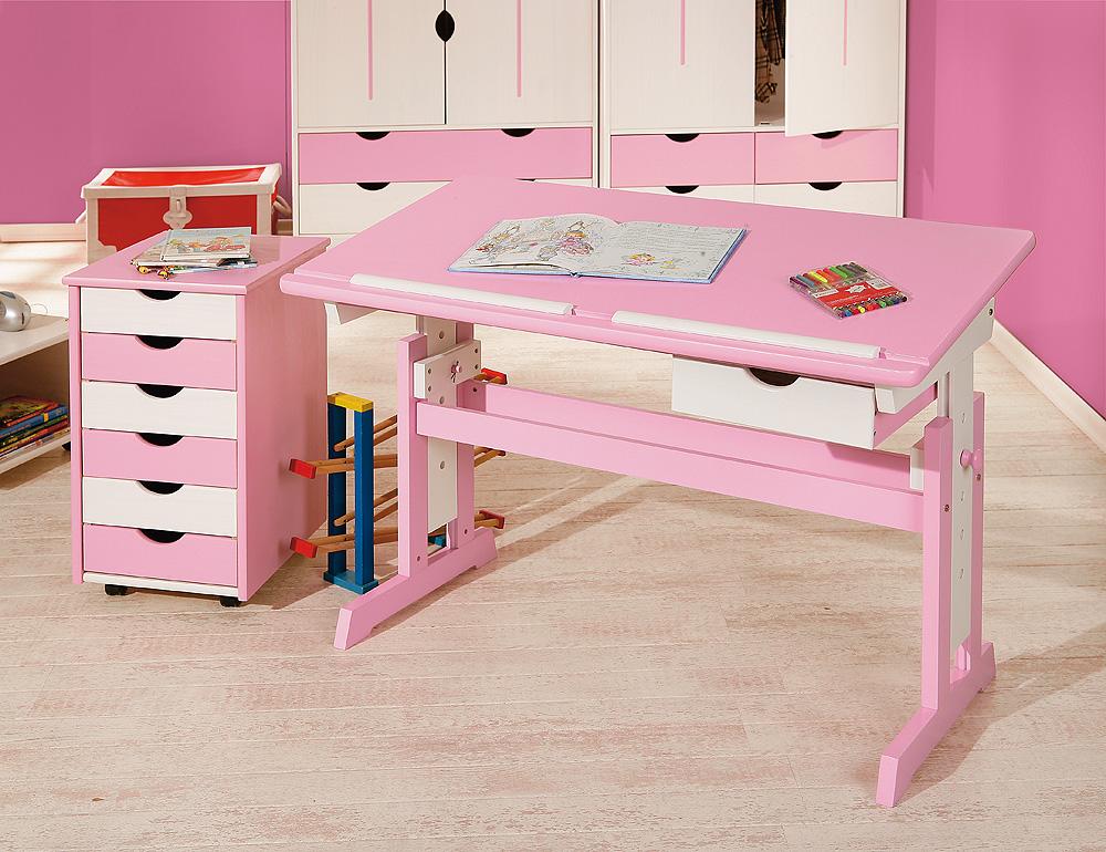 Lerntisch, Tisch, Jugendschreibtisch, Schreibtisch Cecilia Massiv Pink & Weiß