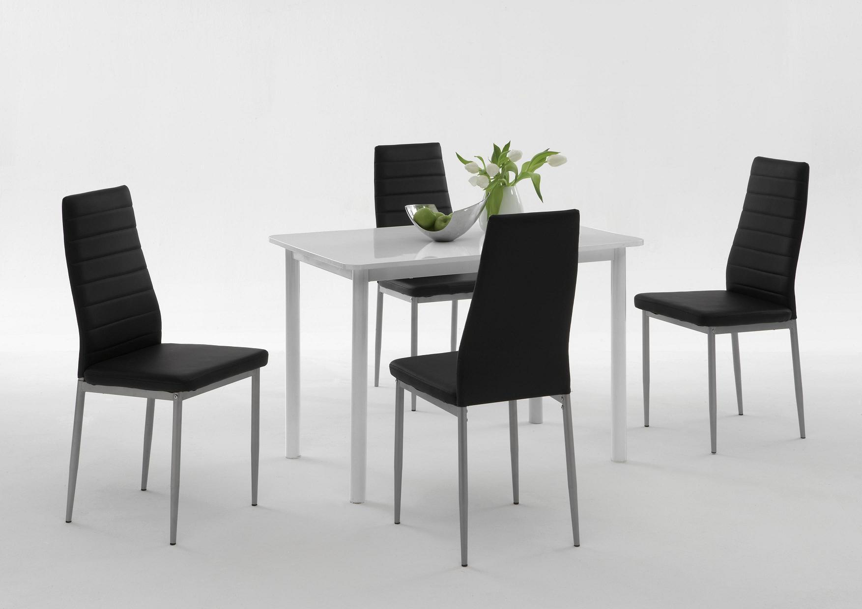 6 Stühle=Set Vierfussstuhl Stuhl Simone S 03 Kunstleder Schwarz