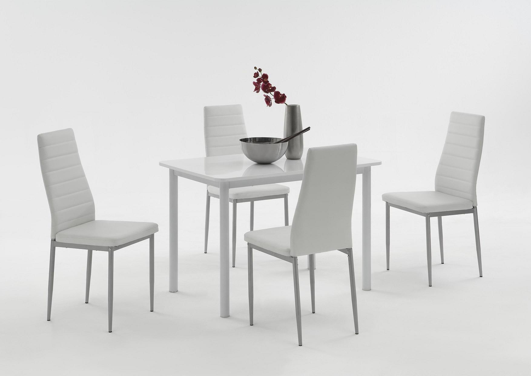 2 Stühle=Set Vierfussstuhl Stuhl Simone S 13 Kunstleder Weiß