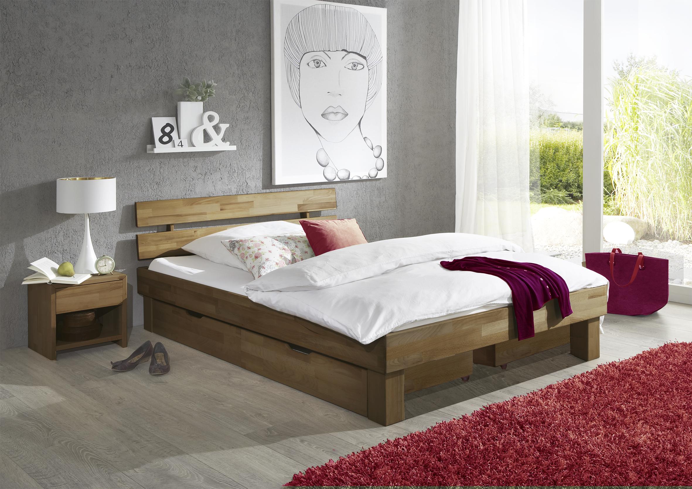 100x200 Bett Futonbett Holzbett Mit Bettkasten Wildeiche Massiv Jen100ebk Geölt