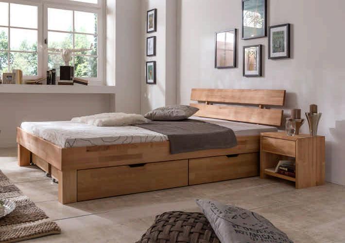 90x200 Bett Futonbett Holzbett mit Bettkasten Kernbuche Massiv Jud090E+BK geölt