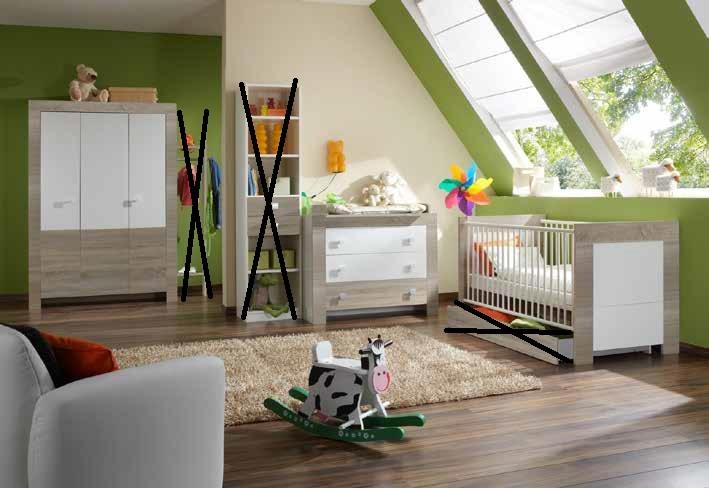 4tlg. Babyzimmer Kinderzimmer Komplettset Kira Eiche sägerau/Weiß
