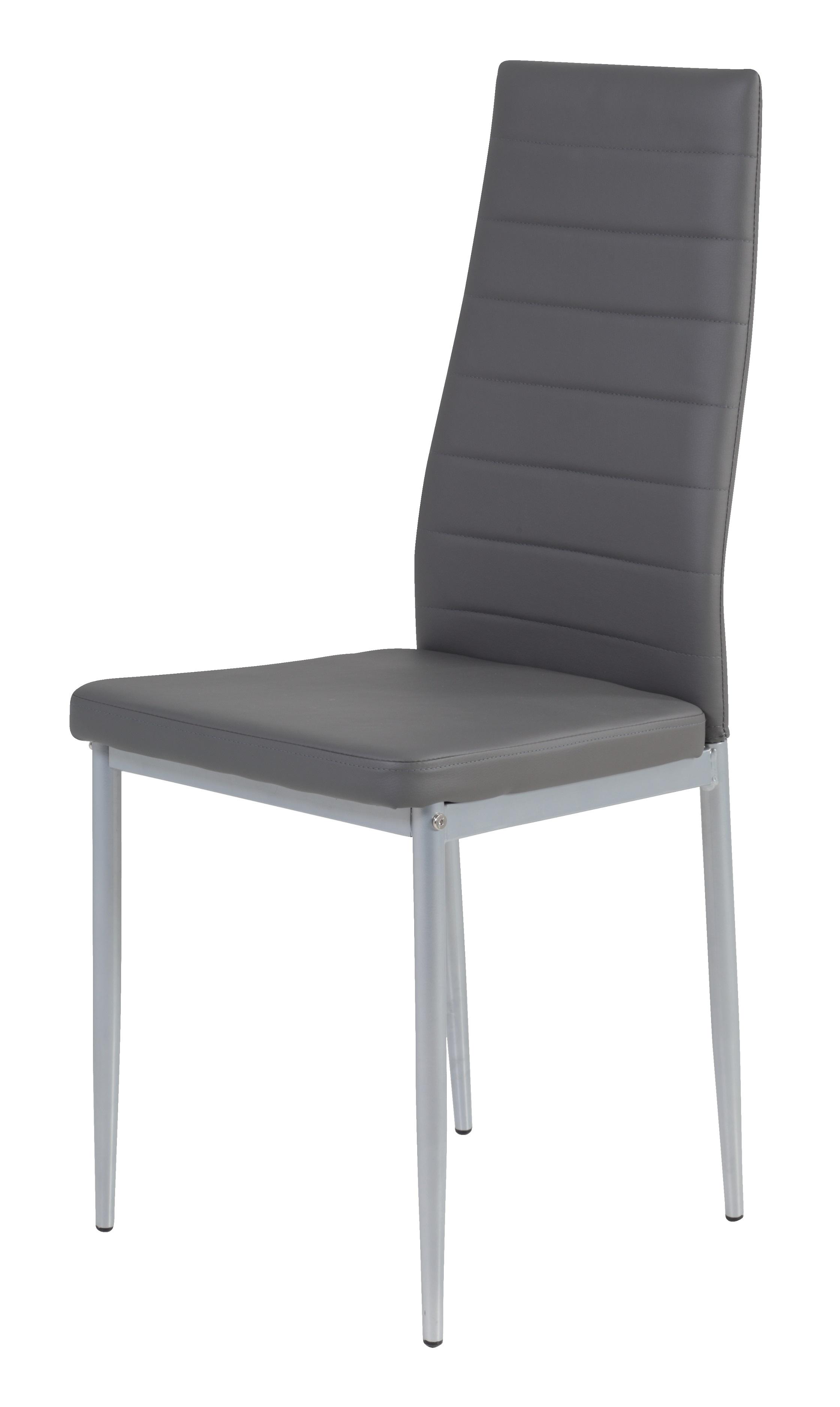 2 Stühle=Set Vierfussstuhl Stuhl Simone S 52 Kunstleder Grau
