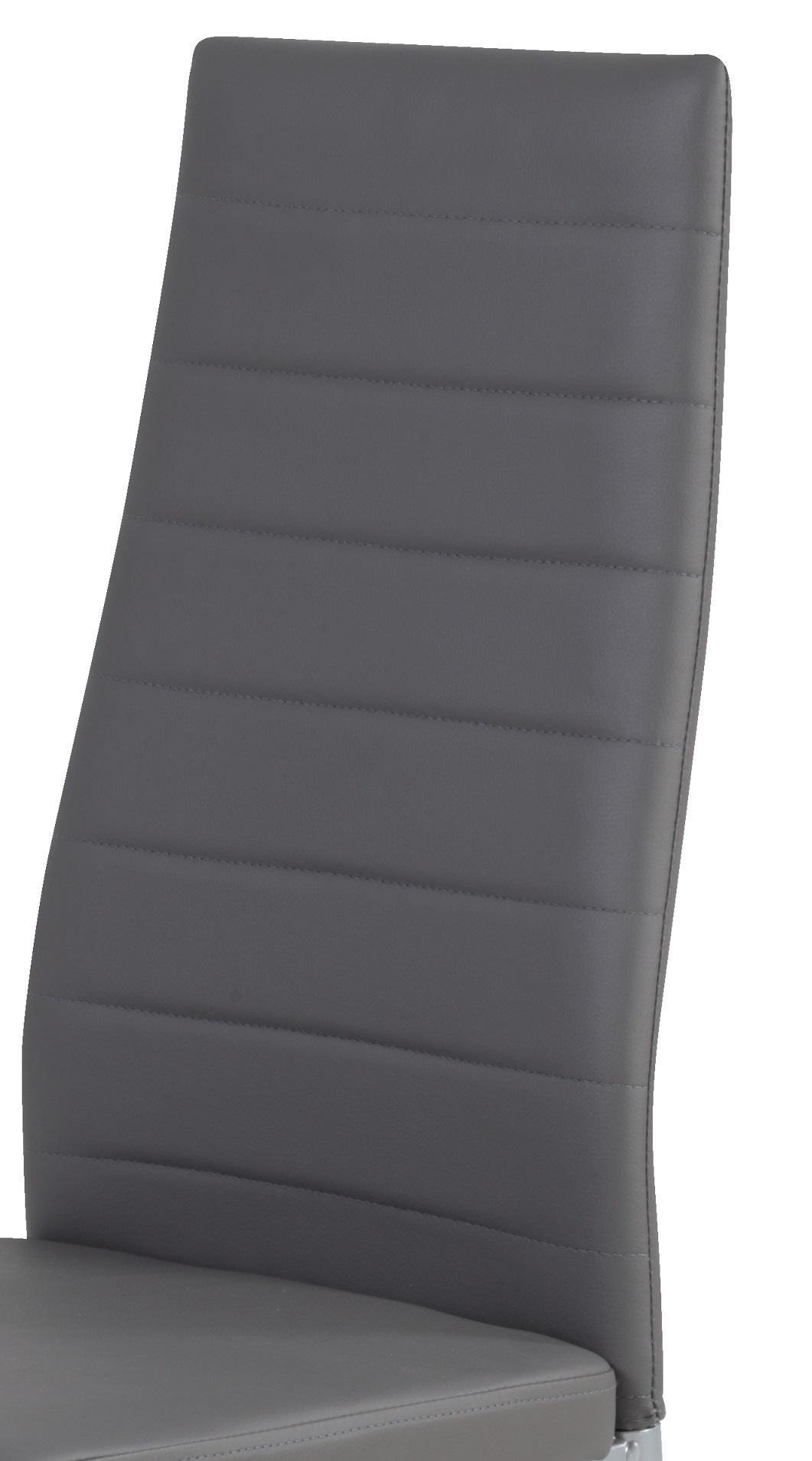 4 Stühle=Set Vierfussstuhl Stuhl Simone S 52 Kunstleder Grau