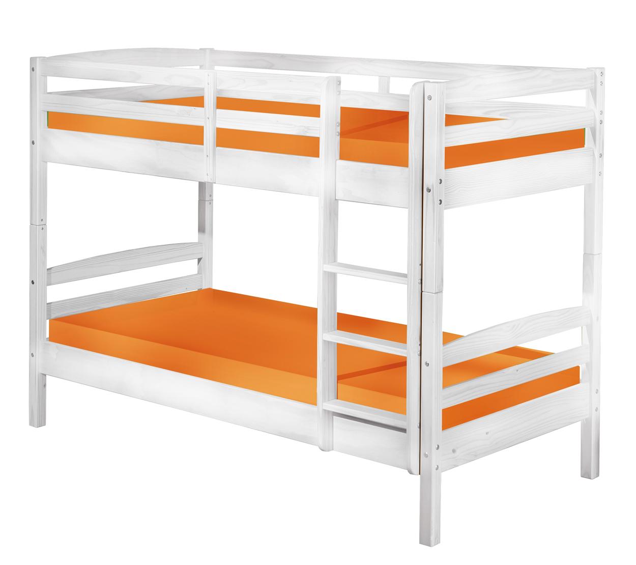 90x190 Bett Kinderbett Holzbett Etagenbett Rick Massivholz Weiß Lackiert