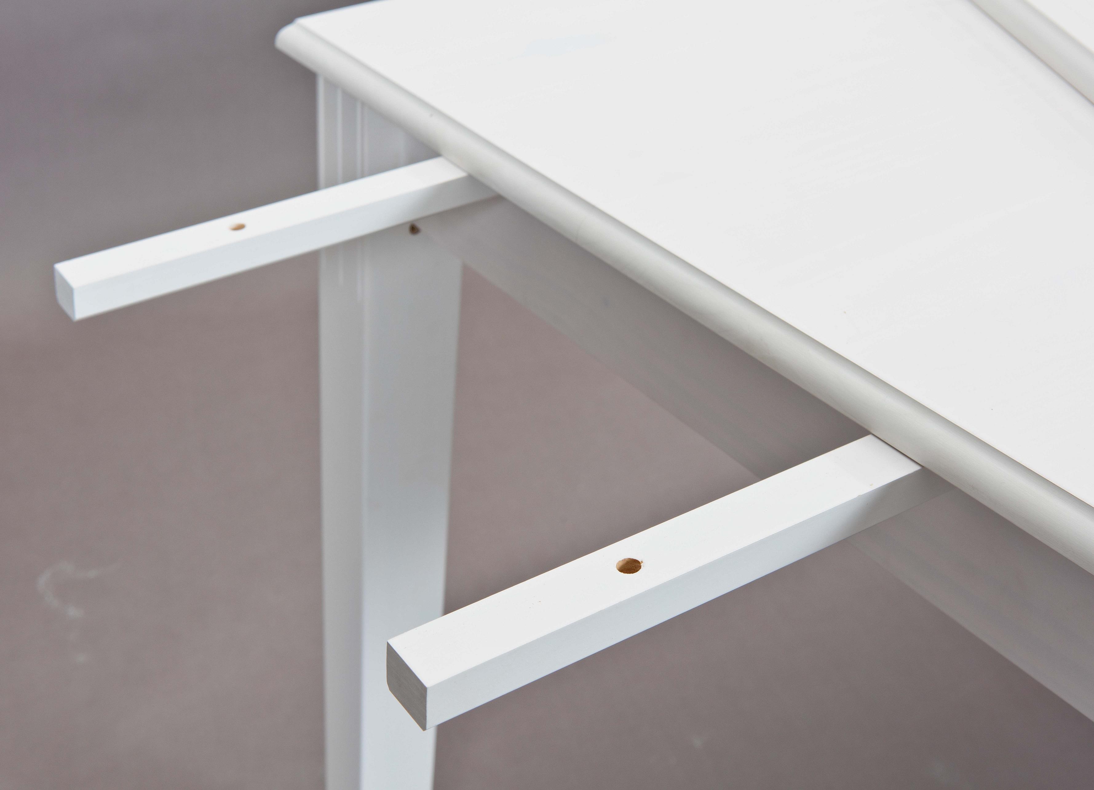 Für Esstisch Zusatzplatte Ansteckplatte Erweiterung Westerland 18.1 Massivholz Weiß
