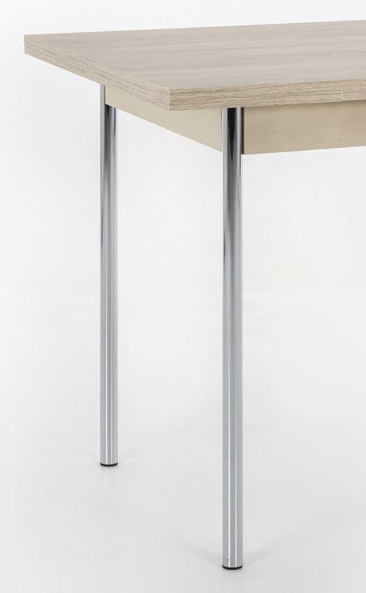 90-142x65 cm Esstisch Küchentisch Tisch Bonn I 63/29 Eiche Sonoma Chrom ausziehbar