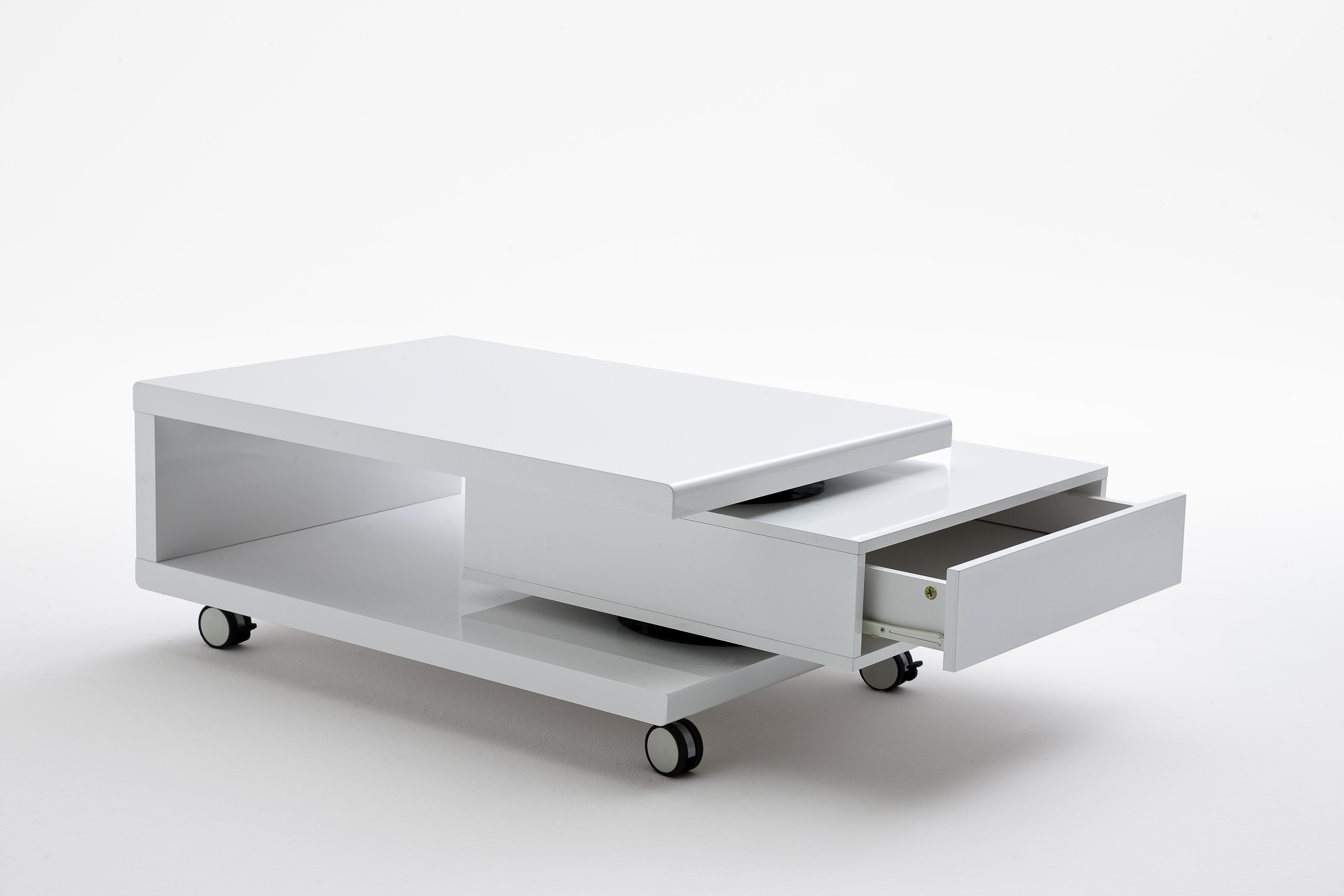 Couchtisch Beistelltisch Tisch Wohnzimmertisch Angela Hochglanz Weiß Rollen