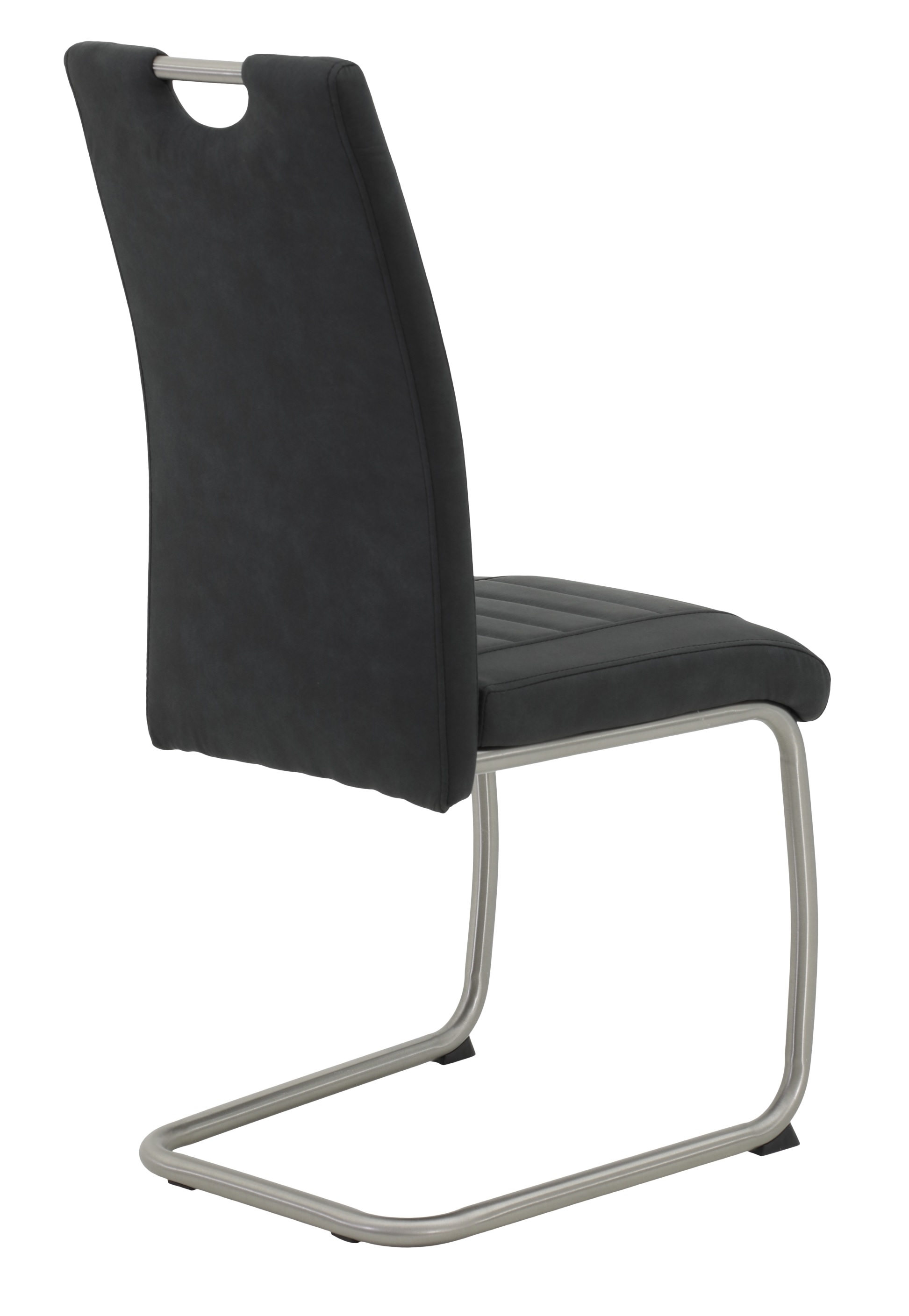2 Freischwinger=Set Schwing - Stuhl Küchenstuhl Ulla 46 Stoff Anthrazit Edelstahl