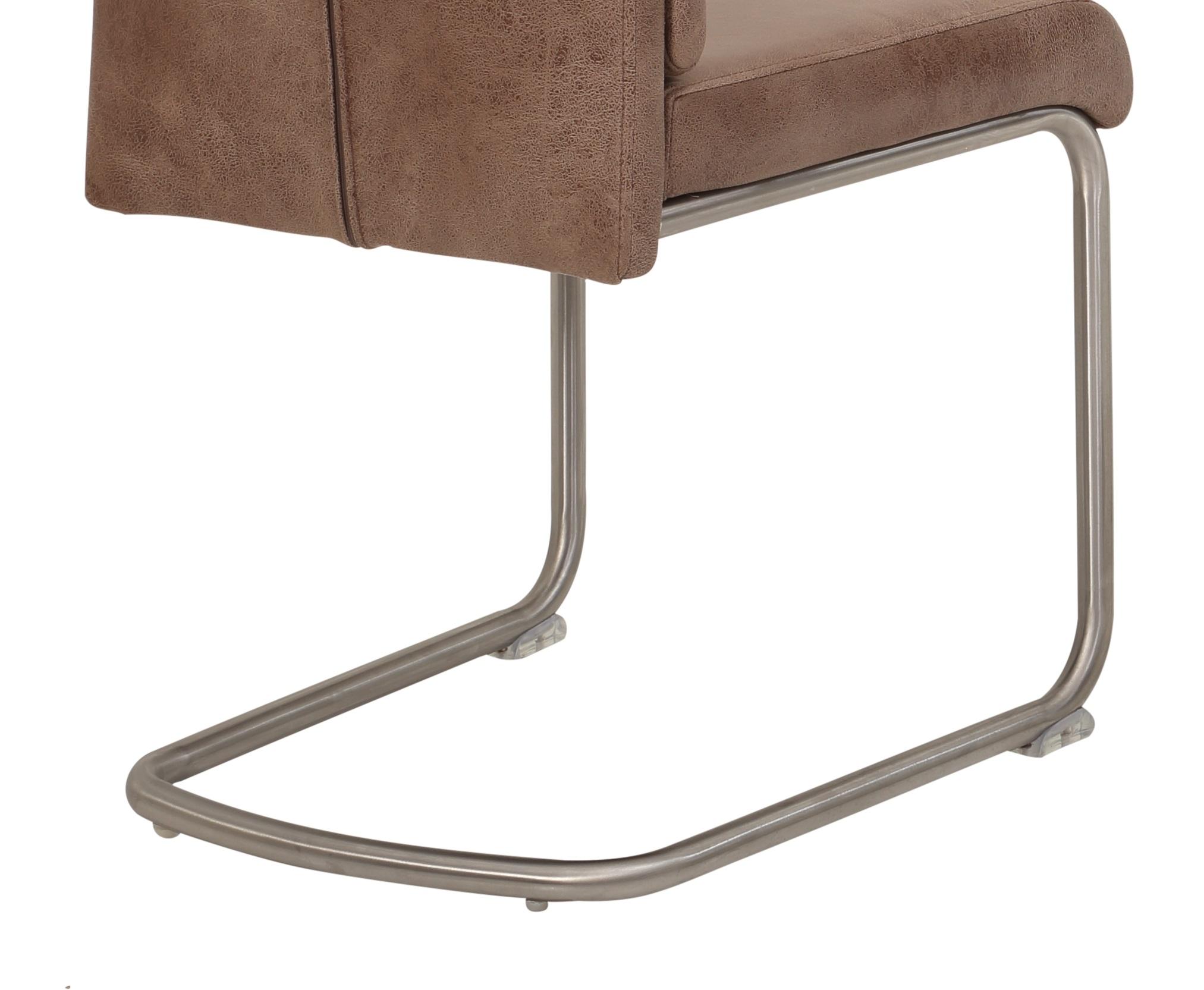 4 Freischwinger=Set Schwing - Stuhl Küchenstuhl Paula 72 Stoff Schlamm Edelstahl