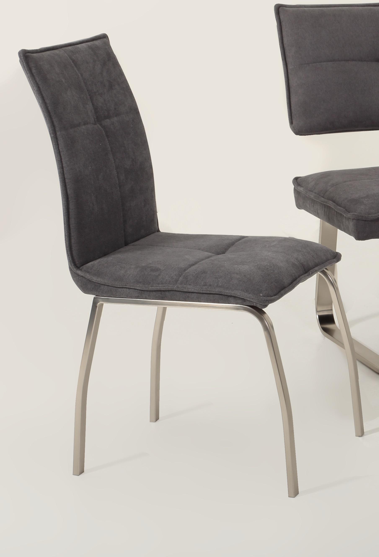 4 Stühle=Set Küchenstuhl Stuhl Esszimmerstuhl Nena 52/08 Webstoff Grau