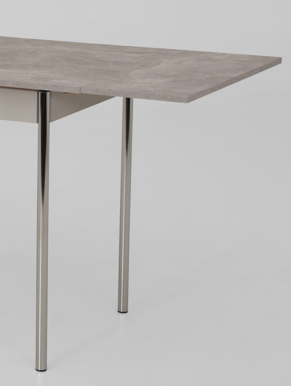 90-142x65 cm Esstisch Küchentisch Tisch Bonn I 04/29 Beton Chrom ausziehbar