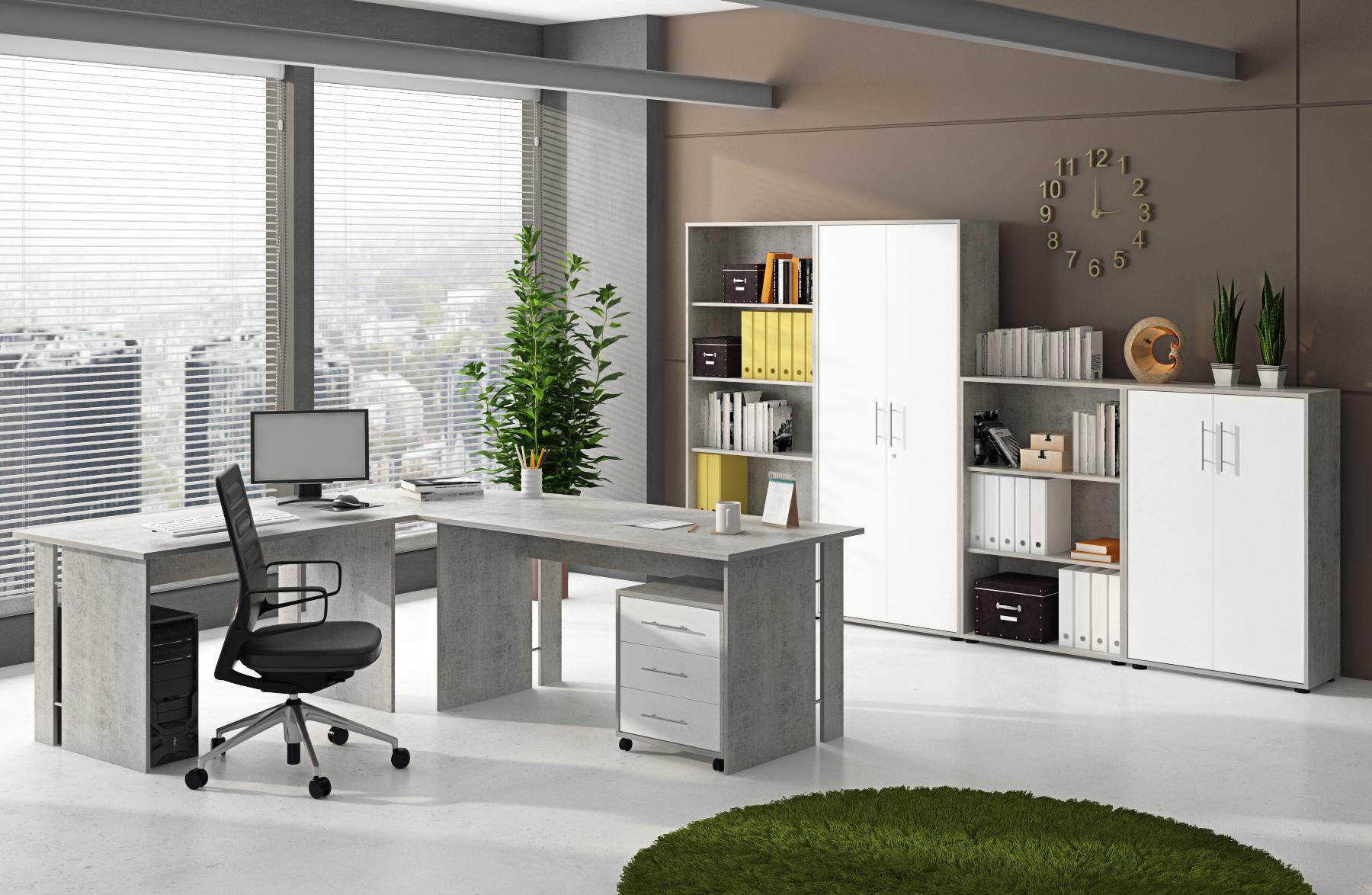 Aktenschrank Schrank 44188BO3 Beton & Weiß matt Dekor, abschließbar