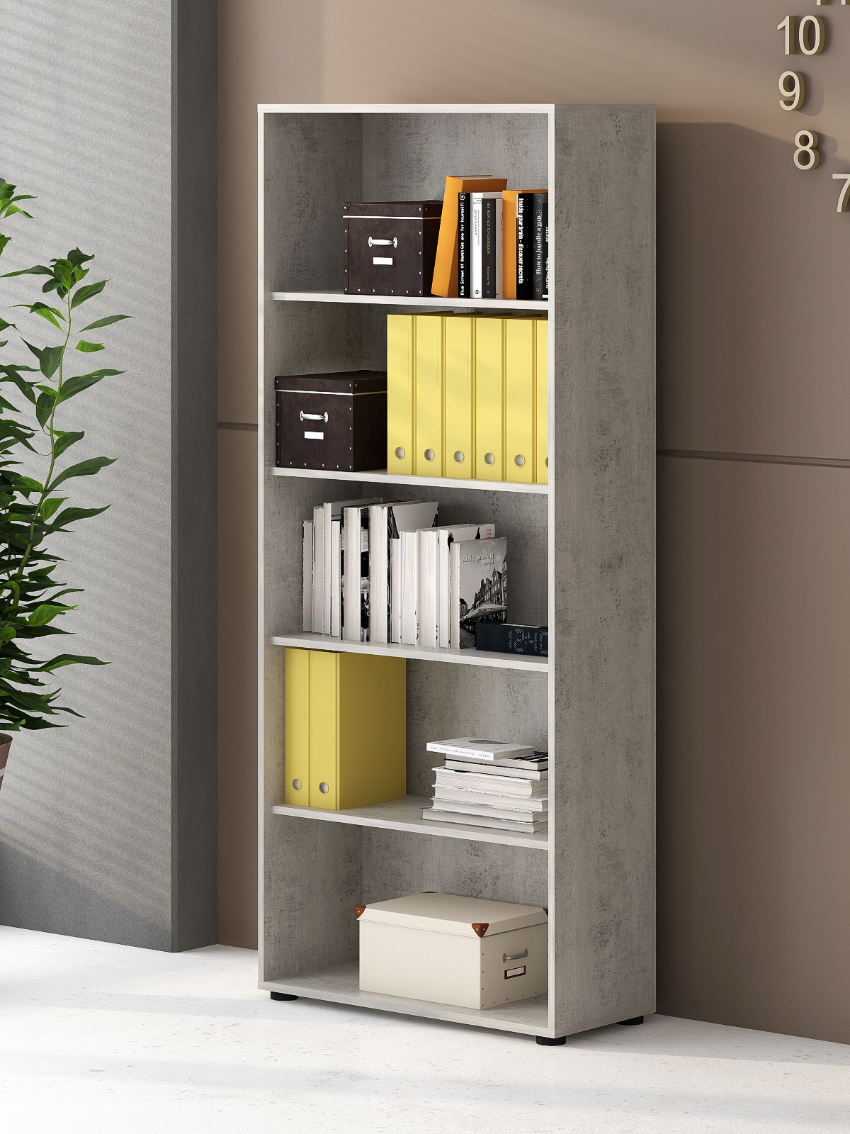 Regal Aktenregal Bücherregal Bücherboard 22188BO3 Beton & Weiß matt Dekor