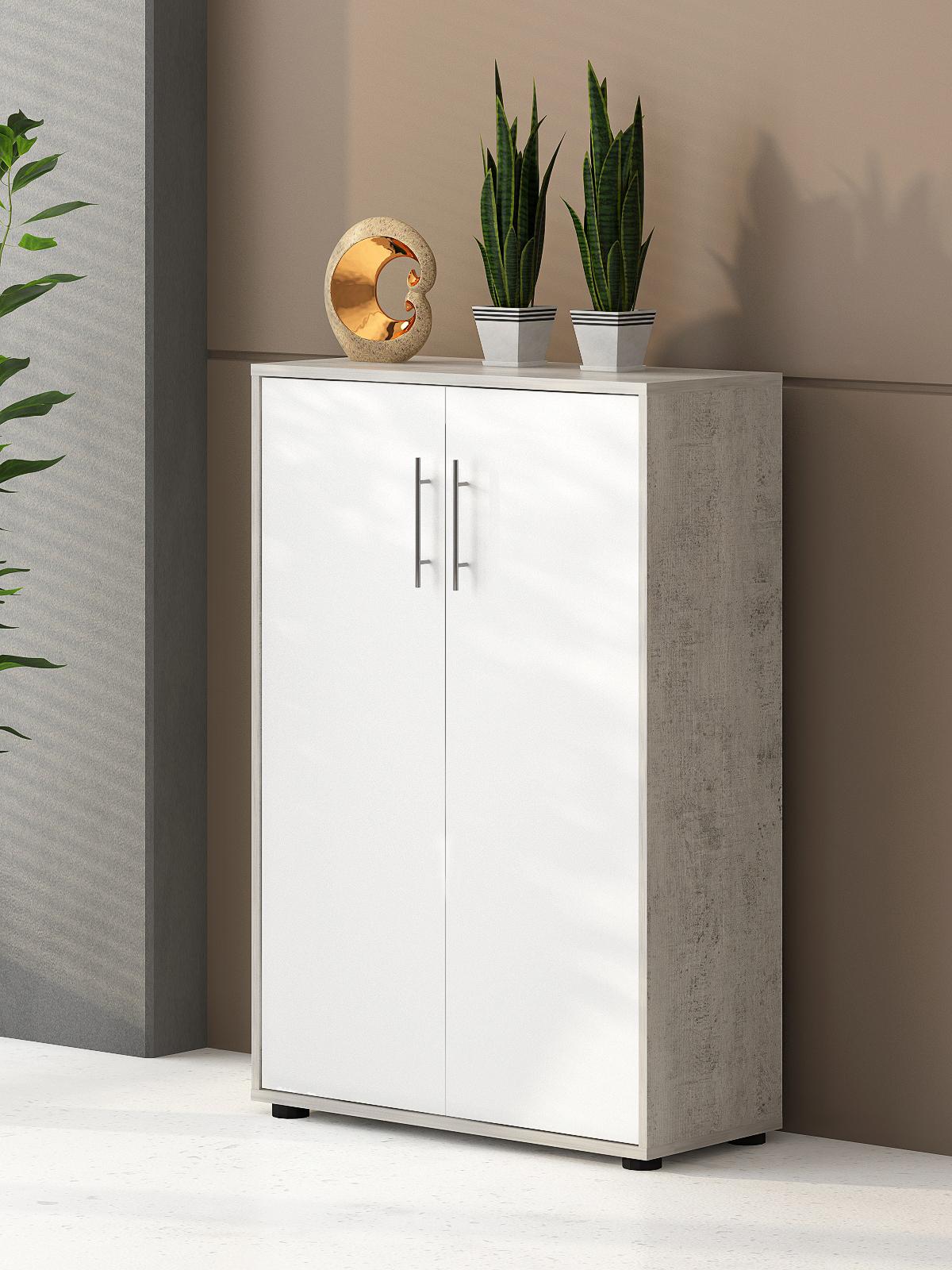 6-teilige Büro-Kombination Omega Beton & Weiß matt Dekor