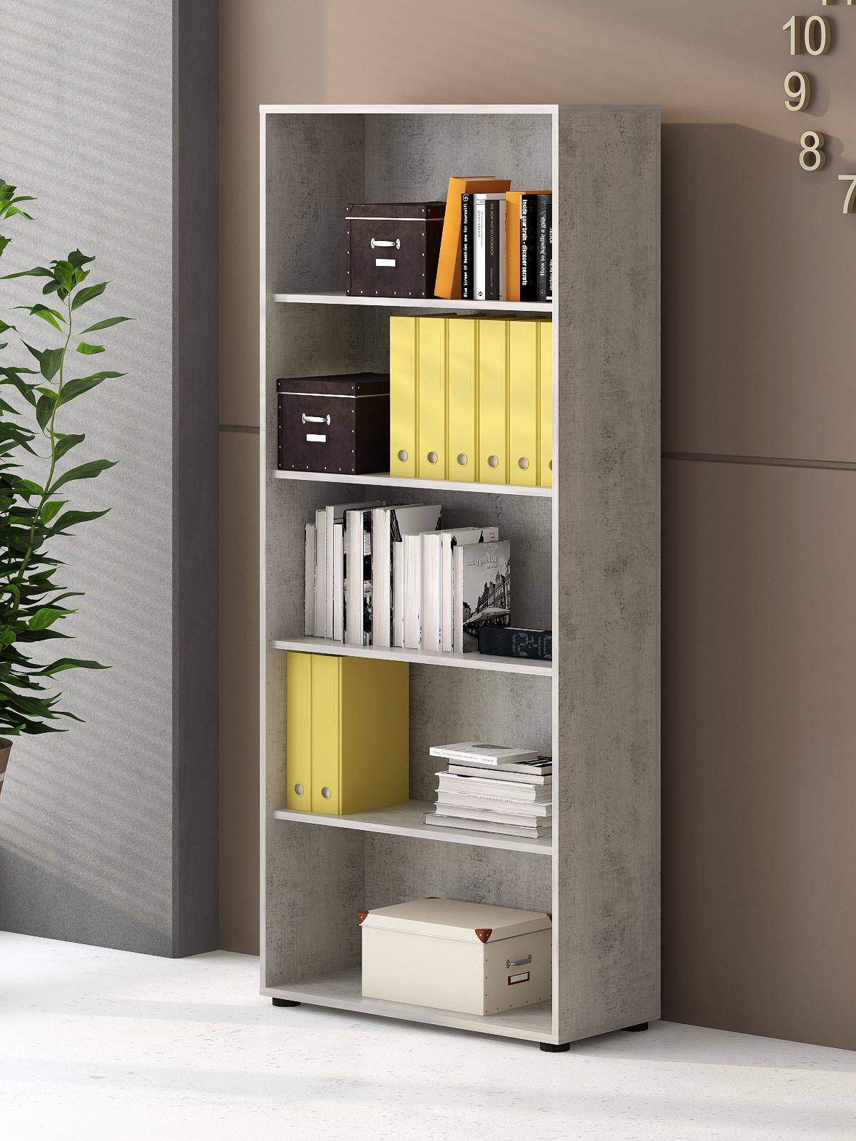 6-teilige Büro-Kombination Bonn Beton & Weiß matt Dekor
