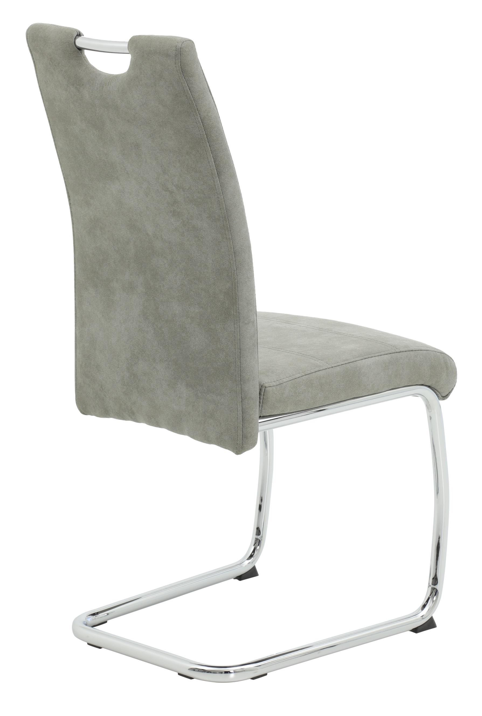 4 Freischwinger=Set Schwinger Stuhl Esszimmerstuhl Flora II 50 Stoff Grau