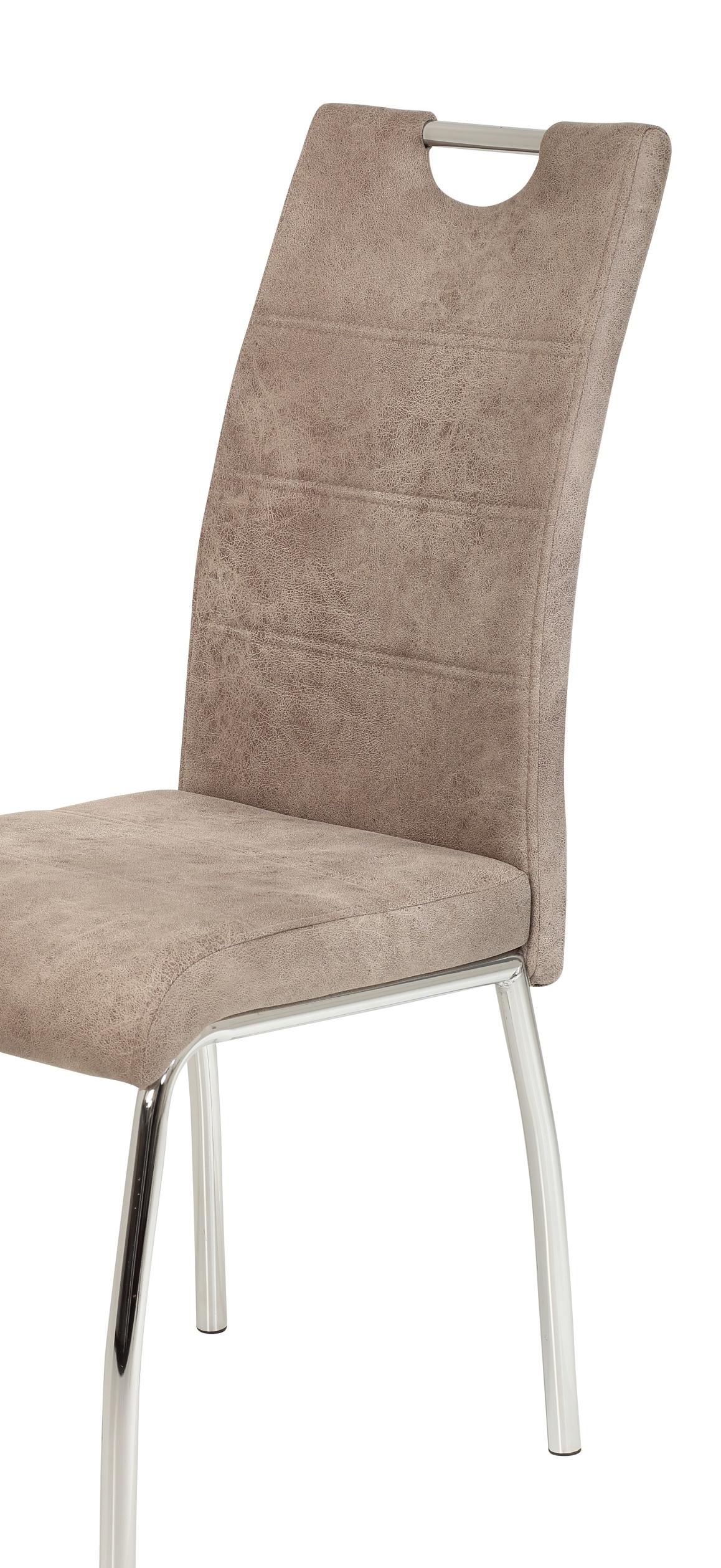 8 Stühle=Set Vierfussstuhl Stuhl Susi II S 70 Microfaser Vintage Beige