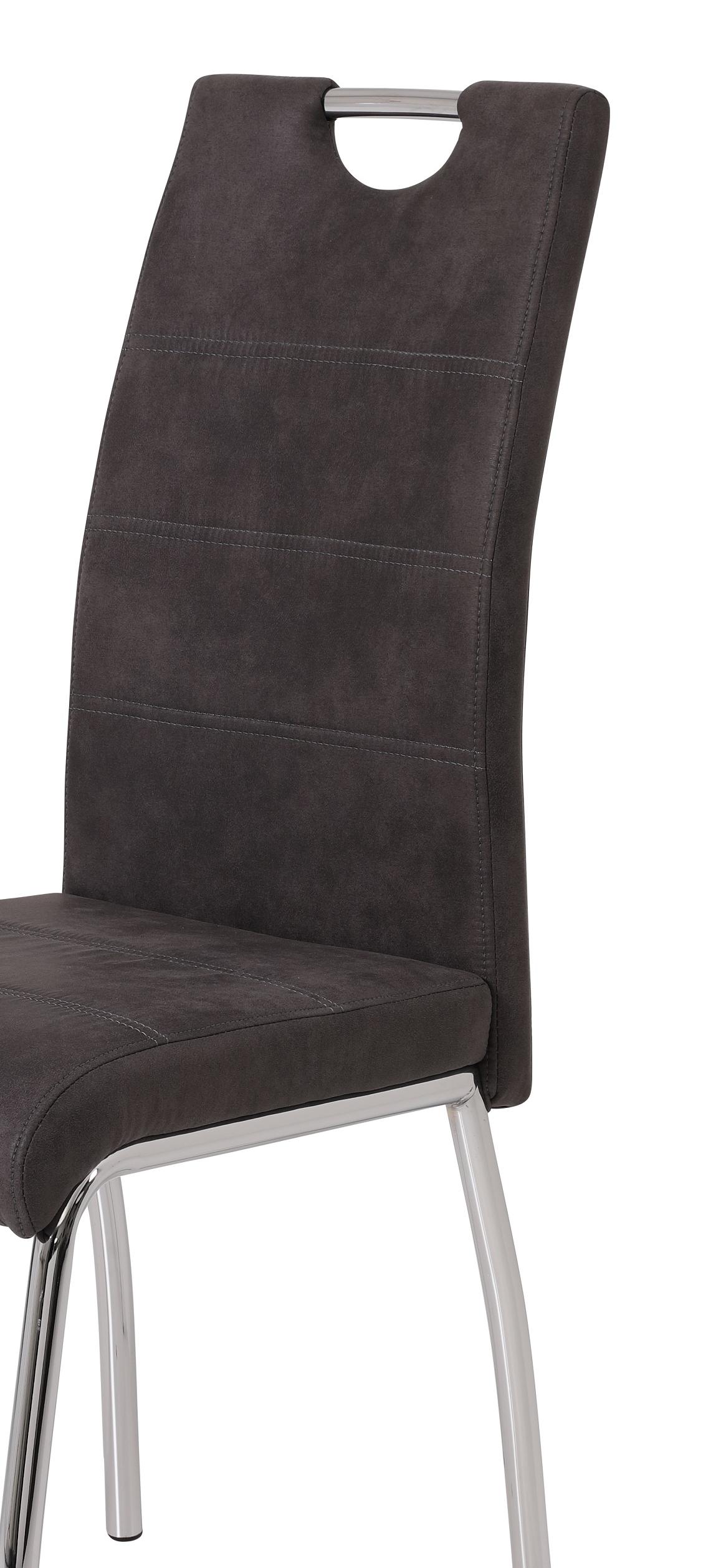2 Stühle=Set Vierfussstuhl Stuhl Susi II S 46 Microfaser Vintage Anthrazit