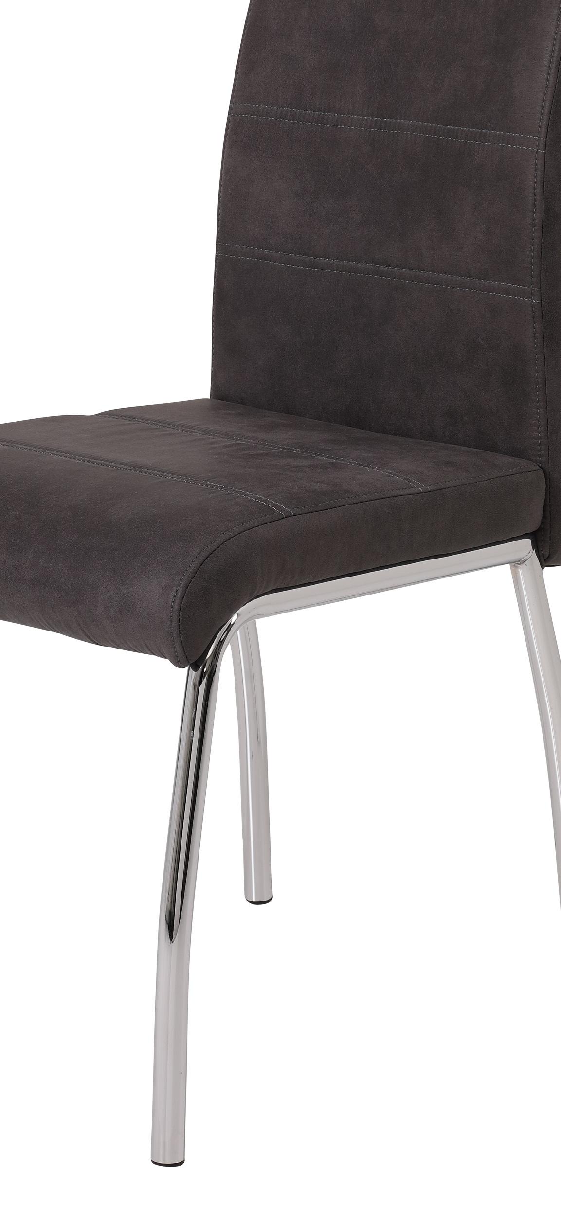 6 Stühle=Set Vierfussstuhl Stuhl Susi II S 46 Microfaser Vintage Anthrazit