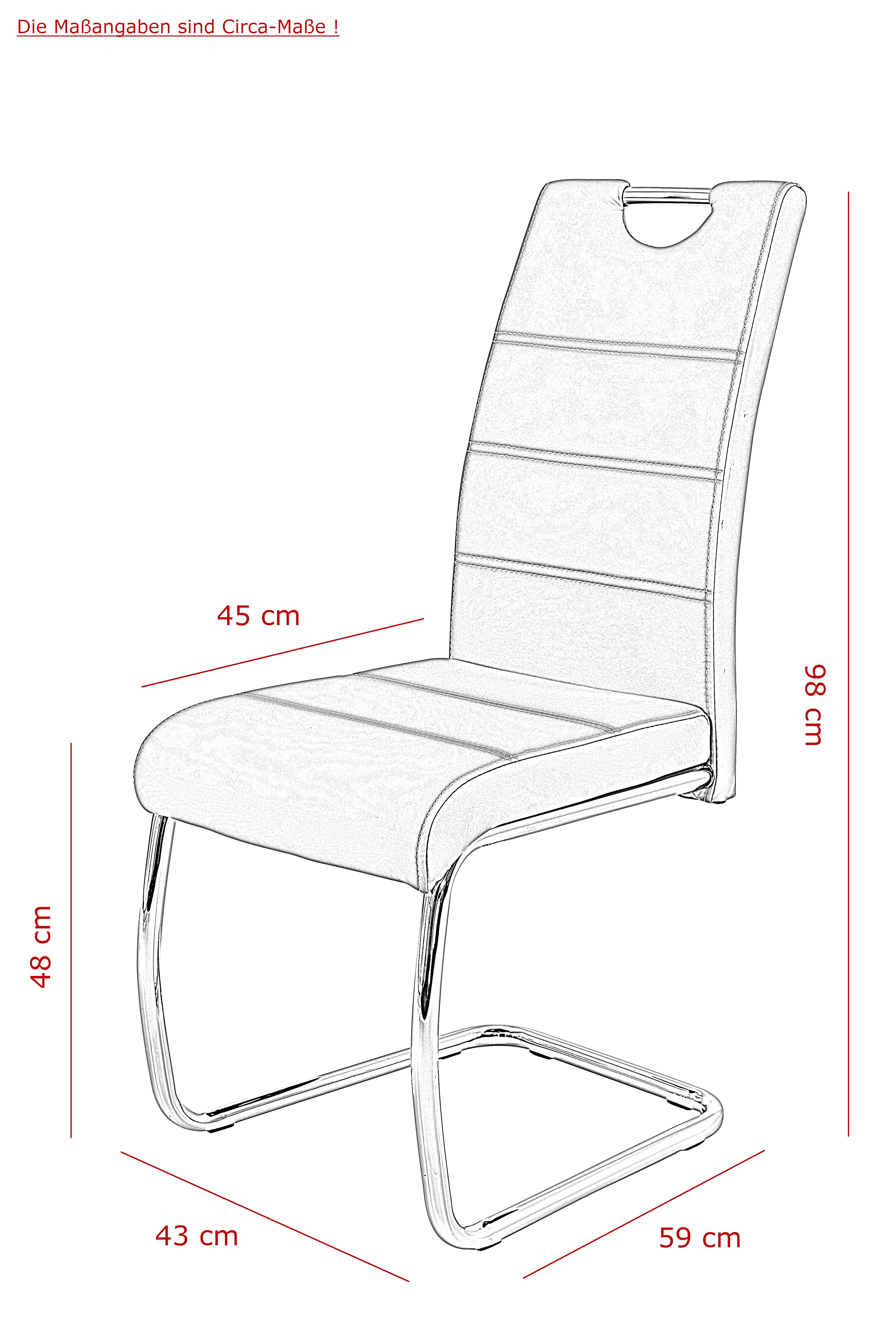 4 Freischwinger=Set Schwinger Stuhl Esszimmerstuhl Flora III 52 Webstoff Grau