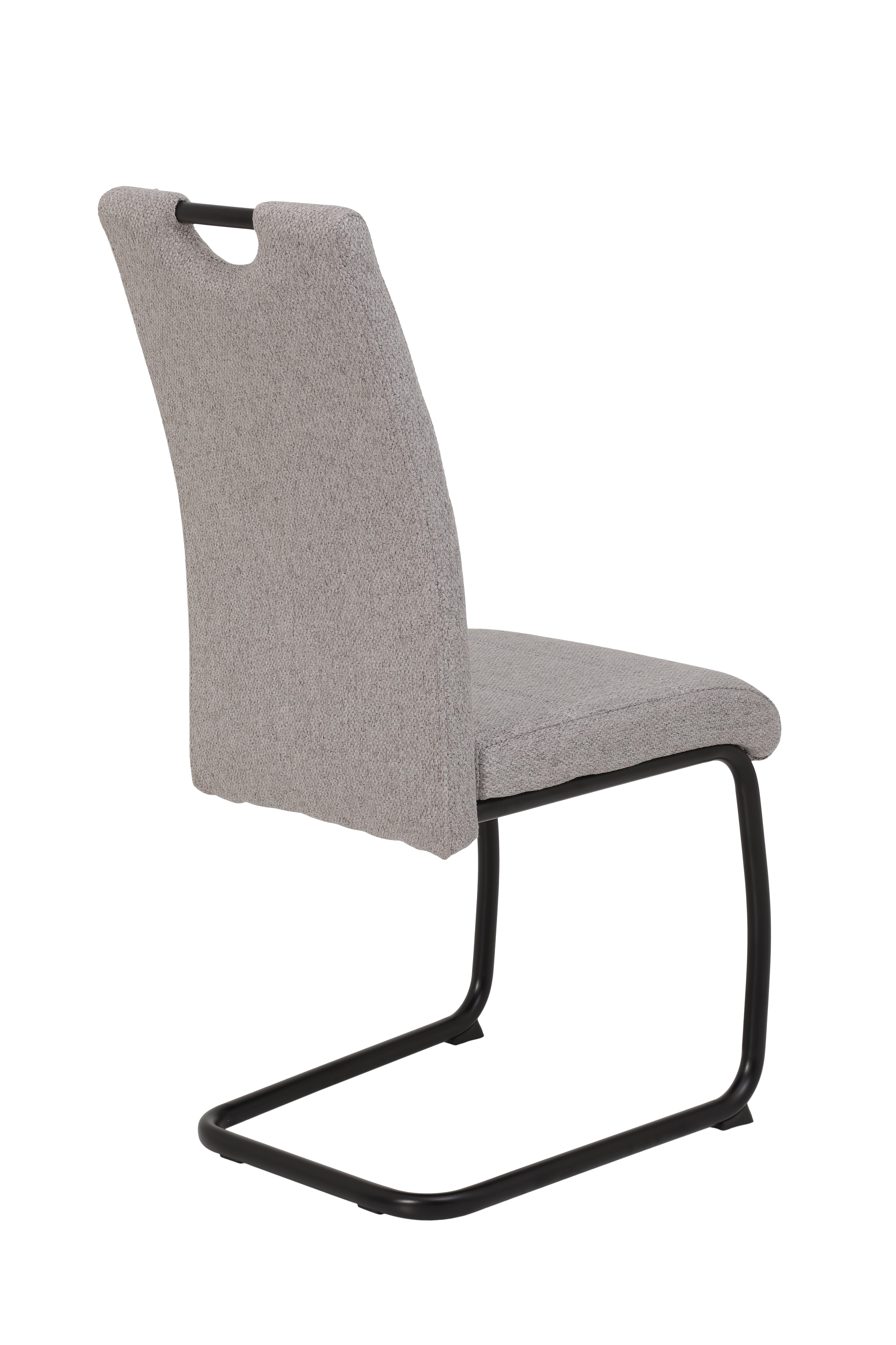 6 Freischwinger=Set Schwinger Stuhl Esszimmerstuhl Flora III 52 Webstoff Grau