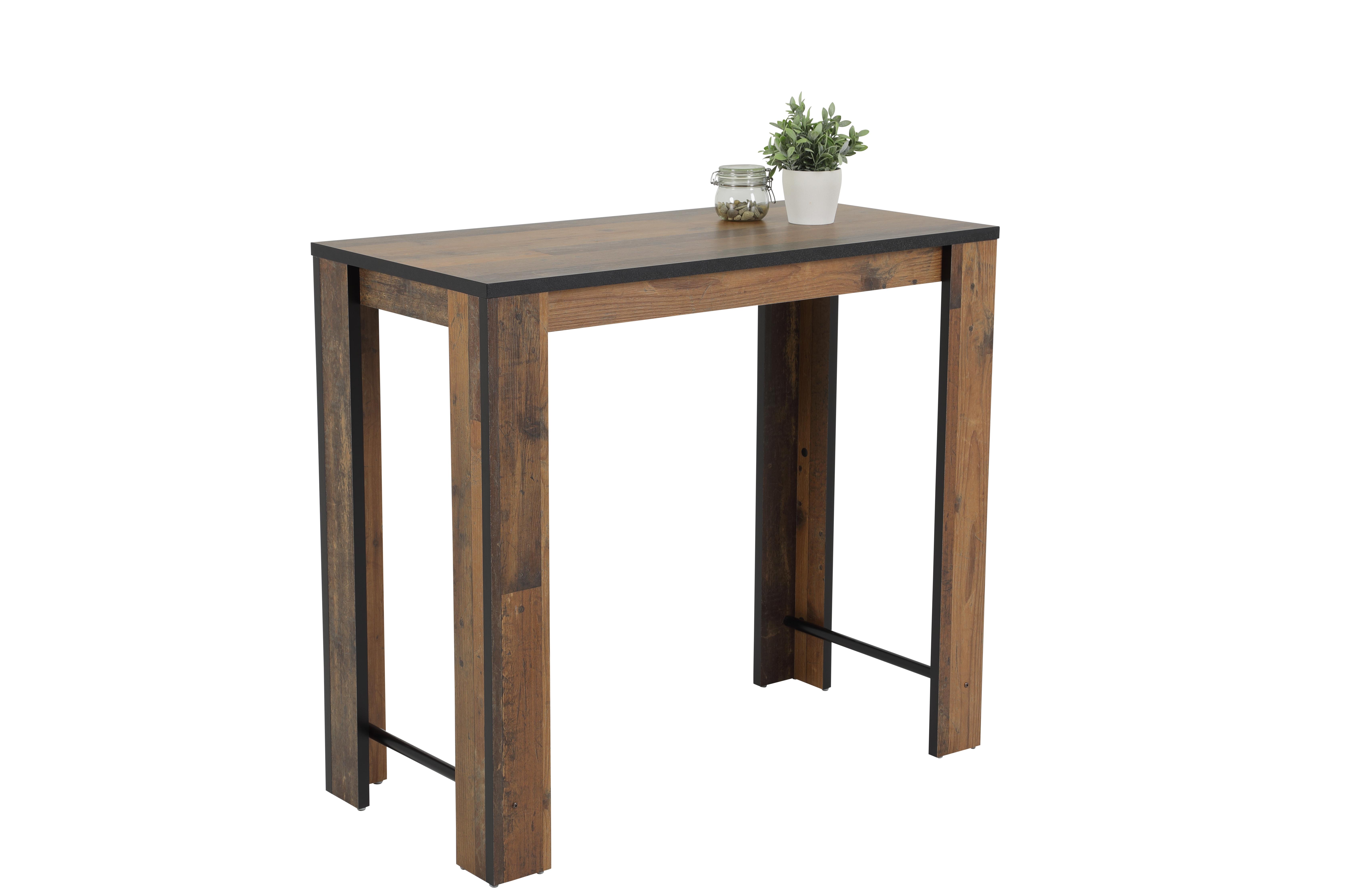 120x58 cm Tisch Esstisch Bartisch Frieda II 82/03 Oldwood Schwarz, mit Dickkante