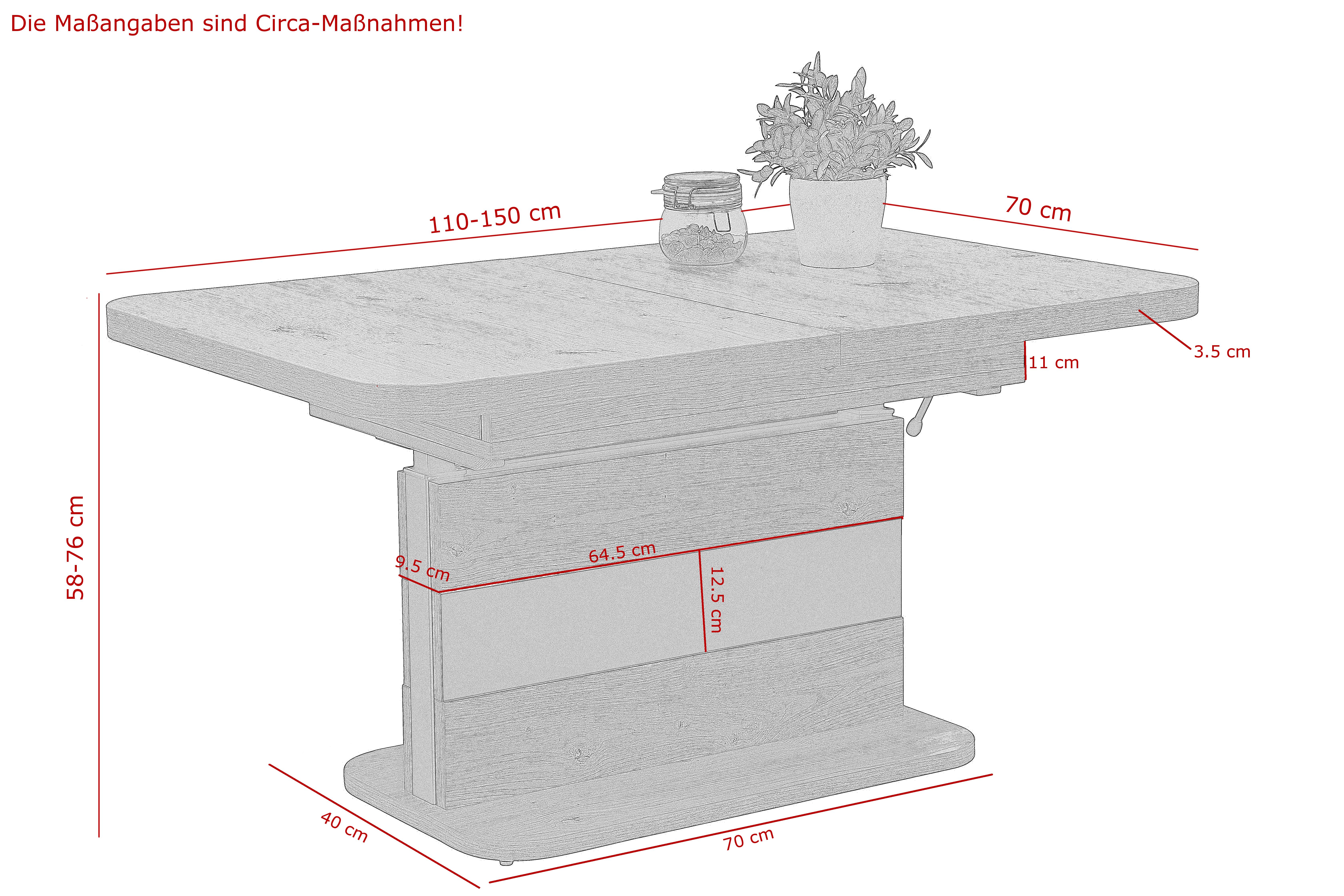 Funktionstisch Couchtisch Tisch Gustav 63/24 Sonoma Eiche & Silber, Ausziehbar, Verstellbar