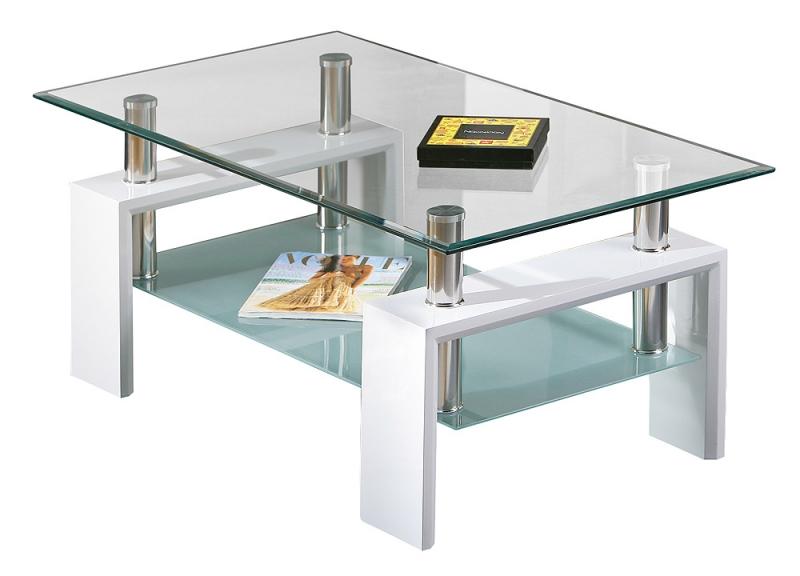 Couchtisch Stubentisch Tisch Alva Metall verchromt, Weiß Dekor, Glas ESG