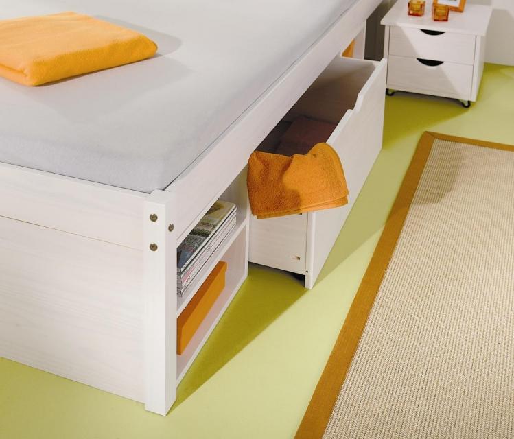 160x200 Bett Funktionbett Jugendbett Till Kiefer Weiß lackiert