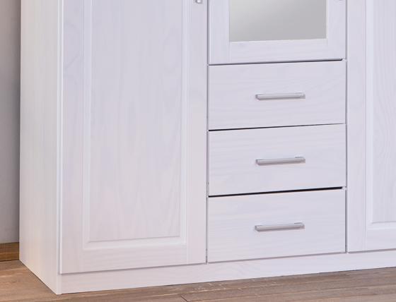 3-trg. Schrank, Kleiderschrank, Schlafzimmerschrank Geraldo Kiefer Massiv Weiß lackiert mit Spiegel