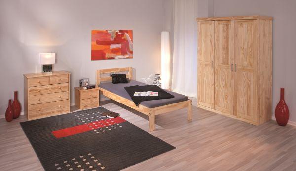 3-trg. Schrank, Kleiderschrank, Schlafzimmerschrank Pelle Kiefer Vollmassiv Klar lackiert