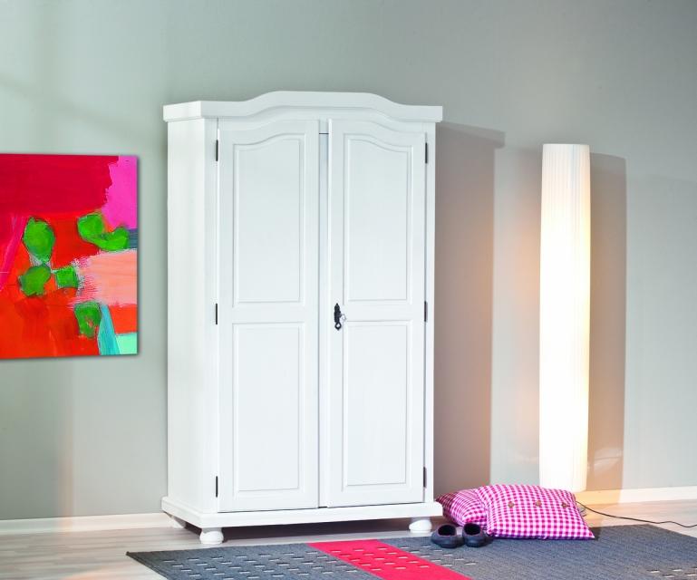 2-trg. Kleiderschrank, Schrank, Landhausstil Hedda Massivholz weiß