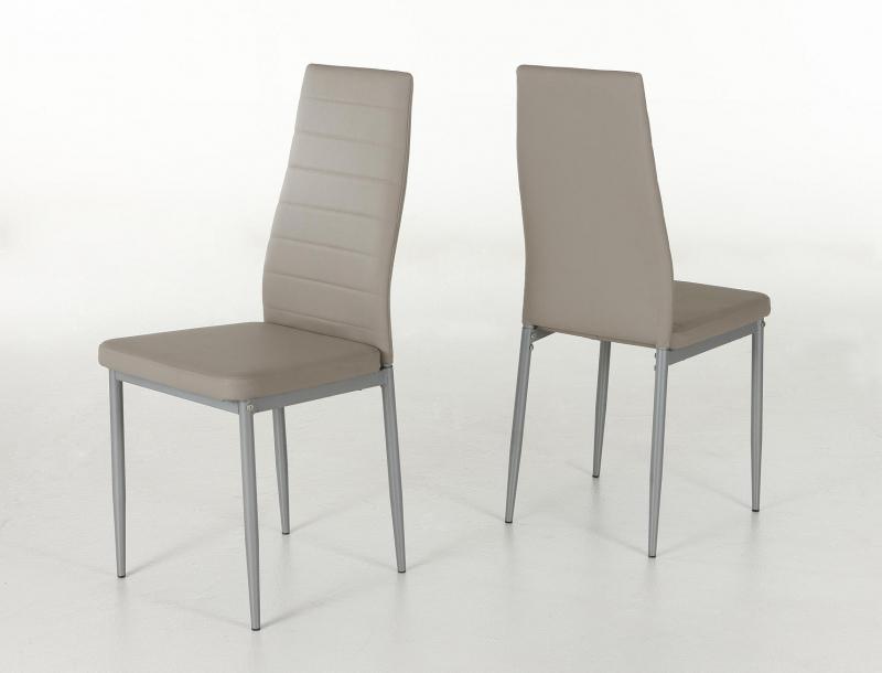 6 Stühle=Set Vierfussstuhl Stuhl Simone S 34 Kunstleder Cappuccino