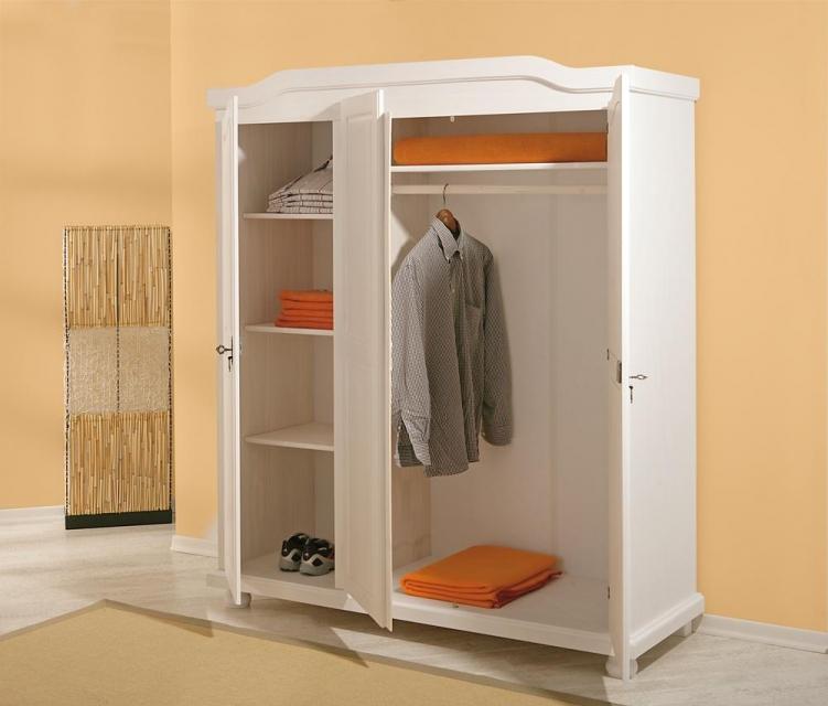 3-trg. Kleiderschrank, Schrank Schlafzimmerschrank Bastian Kiefer Massiv Weiß lackiert