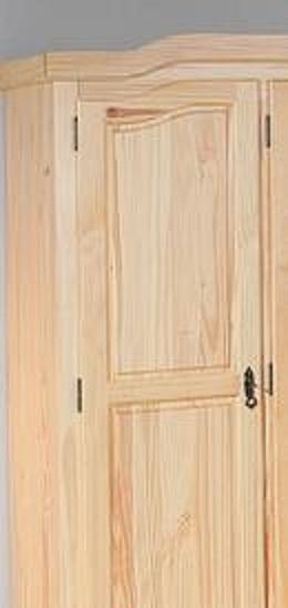 3-trg. Kleiderschrank, Schrank Schlafzimmerschrank Bern Kiefer Massiv Klar lackiert
