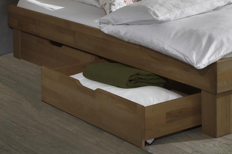 100x200 Bett Futonbett Holzbett mit Bettkasten Wildeiche Massiv Jen100E+BK geölt